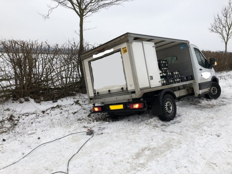 Recovering a vehicle from icy conditions